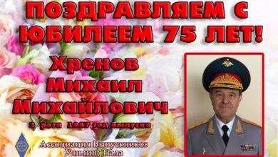 Photo of Поздравляем С Юбилеем 75 лет генерал-лейтенанта Михаила Михайловича Хренова!